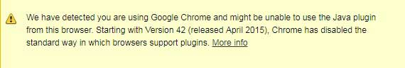 chrome not supported java