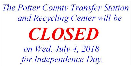 7-4 Potter County Transfer Station Holiday Hours