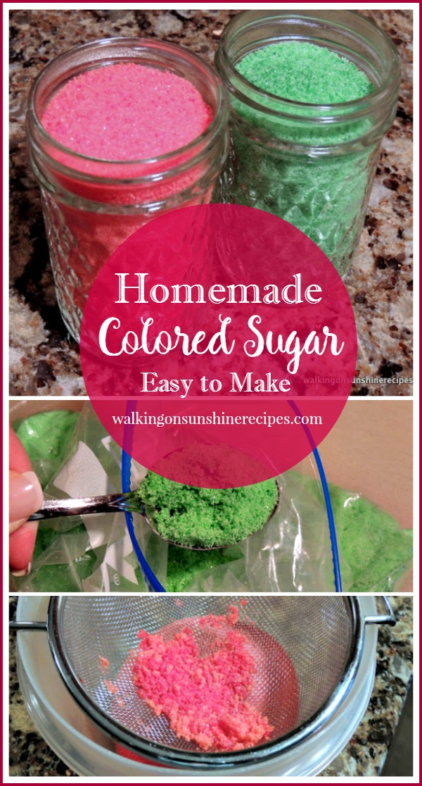 Homemade Colored Sugar from Walking on Sunshine Recipes