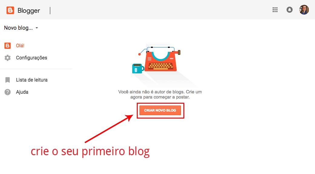Página criar um novo blog