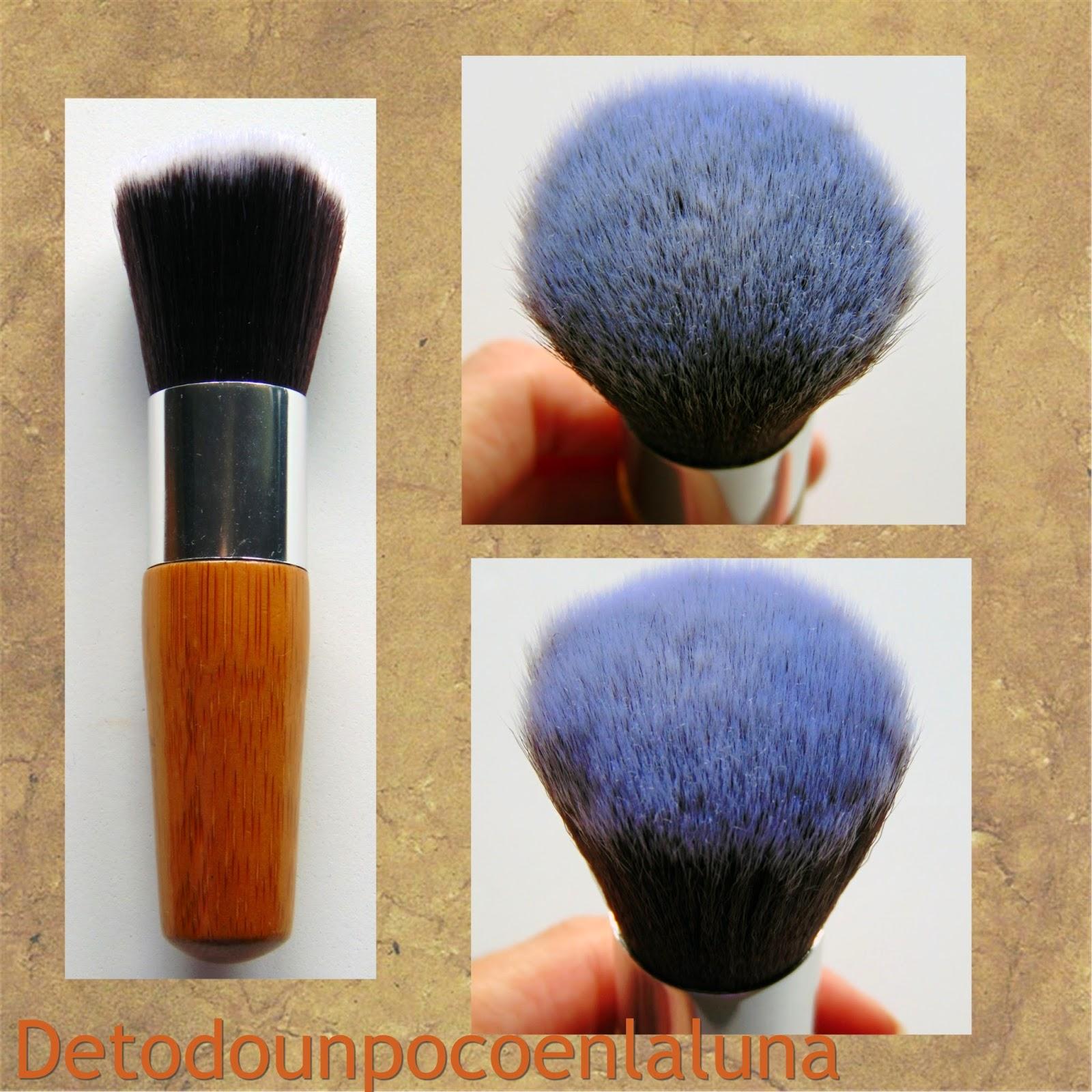 Set 11 brochas de maquillaje de bambú de Buyincoins kabuki redondeada