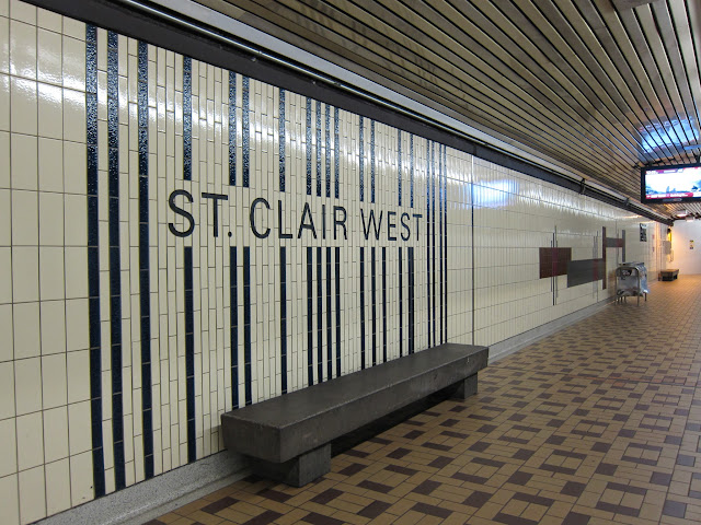 Station identification at St. Clair West station.