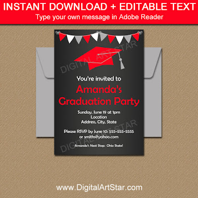 graduation party idea - chalkboard invitation template or printable sign