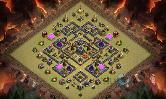 Base Trophy TH 9 COC Update Bomb Tower Terbaru 2017 Tipe 5