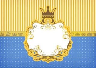 Para hacer invitaciones, tarjetas, marcos de fotos o etiquetas, para imprimir gratis de Corona Dorada en Azul y Amarillo.