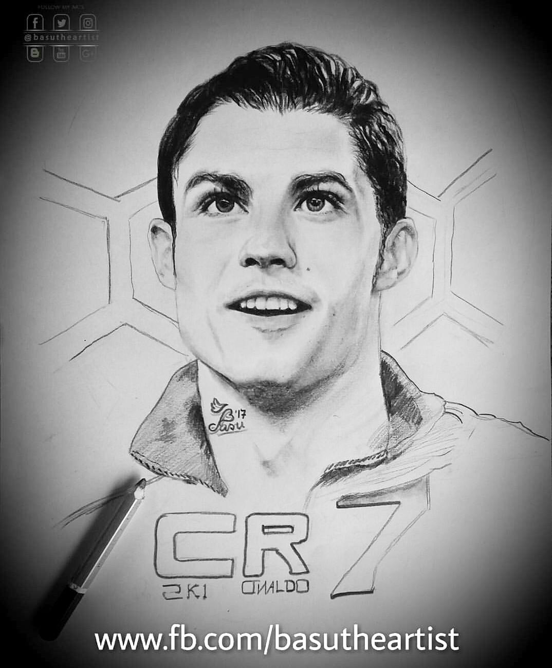Cristiano ronaldo pencil sketch basudev patra