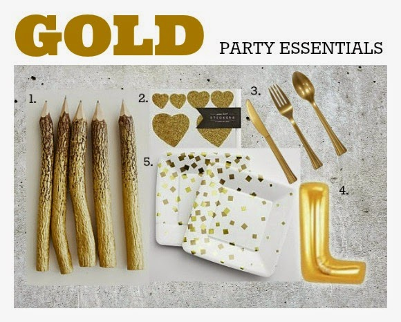 Gold Party Essentials: On trend gold party supplies.