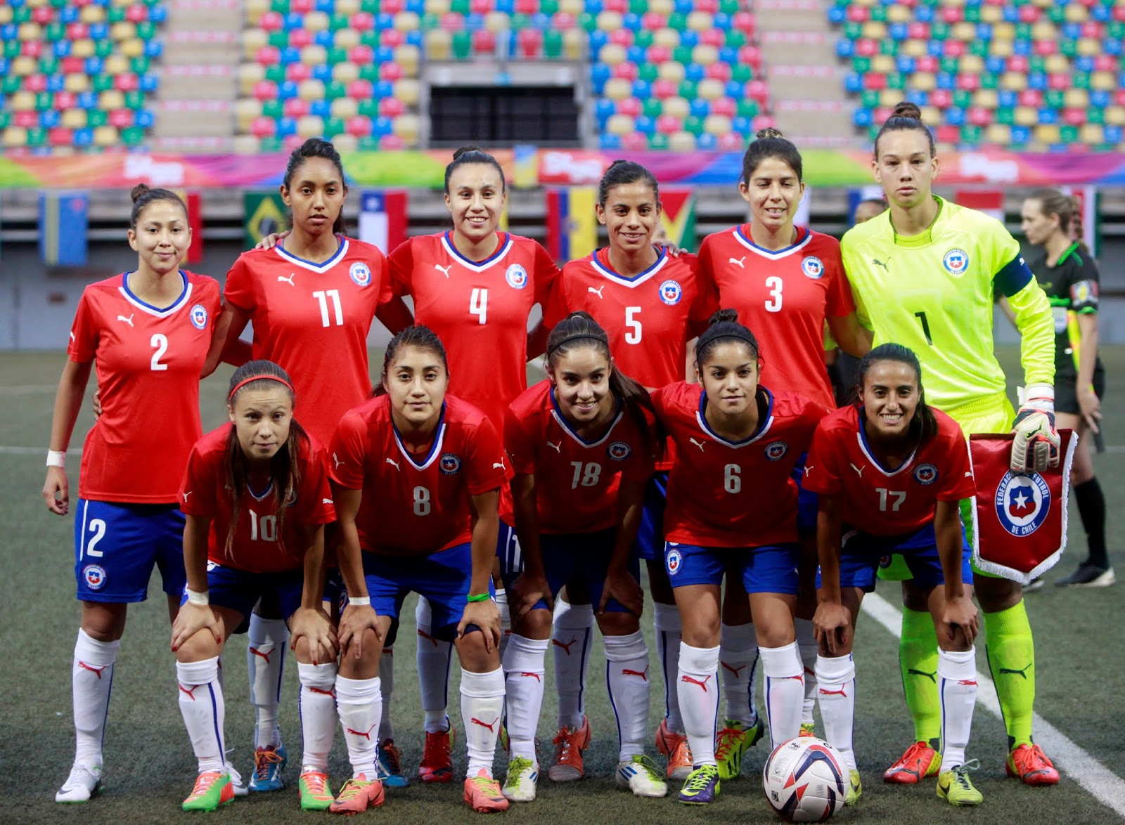 Formación de selección femenina de Chile ante Argentina, Juegos Suramericanos Santiago 2014, 8 de marzo