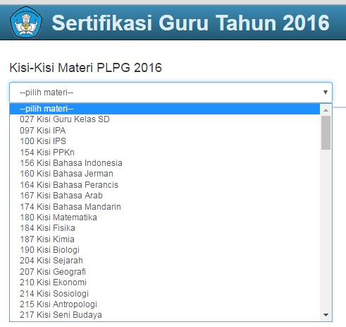 Download Kisi-Kisi Materi PLPG 2016 SD/SMP/SMA/SMK Lengkap