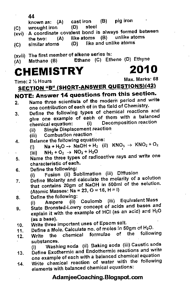 Chemistry Past Year Paper 2010
