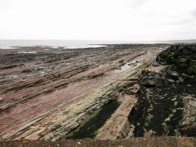 Long strands of rocks and pooled water on bleak Somerset coast.