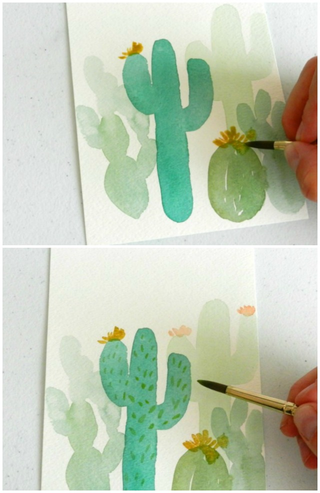 Learn to paint watercolor cactus with two different methods.