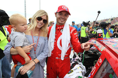 Kyle Larson celebrates his first Sprint Cup victory with his family.