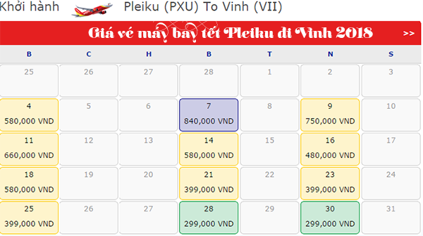 Giá Vé máy bay tết Pleiku đi Vinh 2018