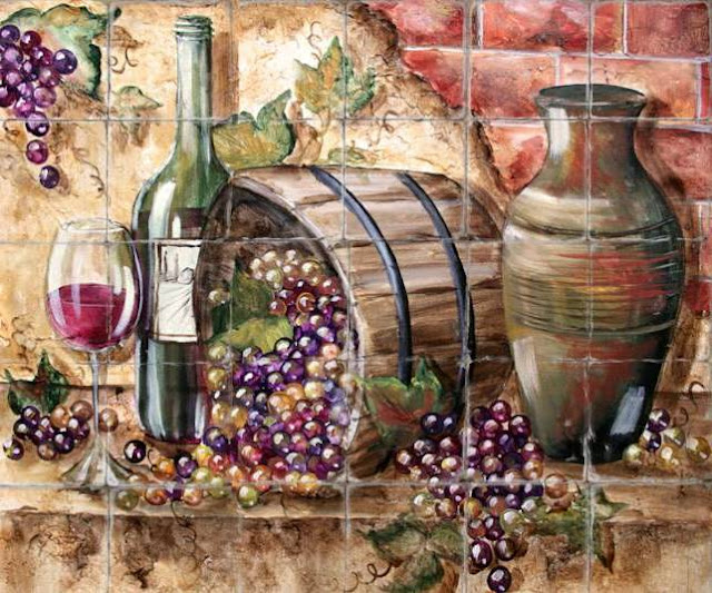 Cheap Wine And Grapes Kitchen Decor