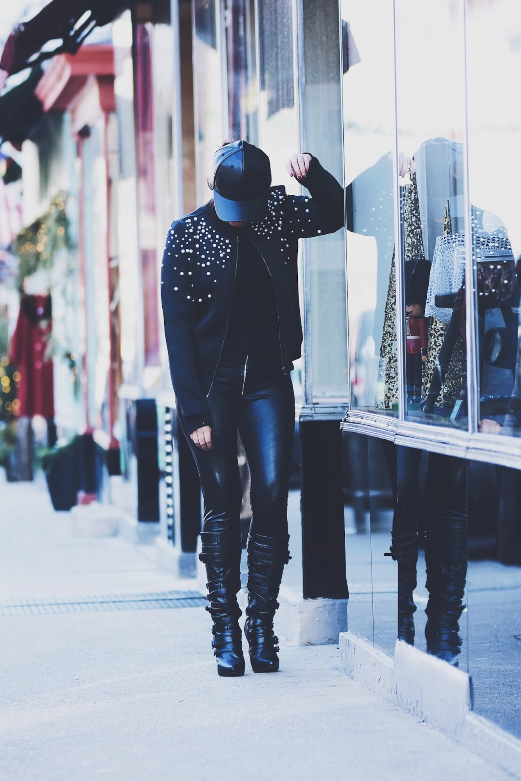 Pearl Embellished Bomber Jacket by Mari Estilo. wearing: Bomber Jacket: SheIn  Hat:  ZAFUL Sweater: Nordstrom  Pants: H&M Boots: Similar Here