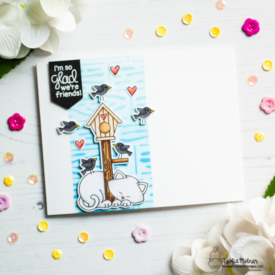 Cat and Birdhouse card by Zsofia Molnar | Newton's Birdhouse Stamp Set and Hardwood Stencil by Newton's Nook Designs #newtonsnook #handmade