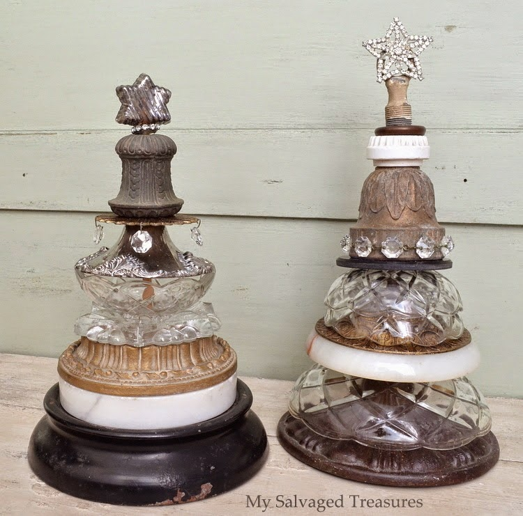 stack old lamp parts to make Christmas trees