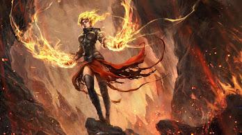 Fantasy, Flame, Magic, Warrior, Girl, 4K, #4.614