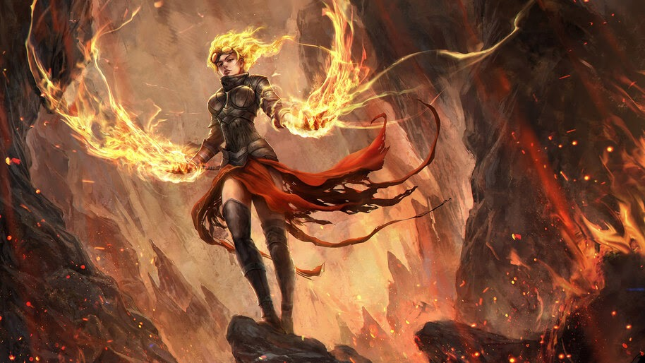 Fantasy, Flame, Magic, Warrior, Girl, 4K, #4.614