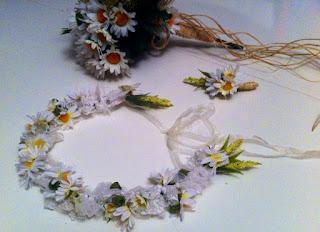 papatya gelin tacı gelin buketi damat yaka çiçeği