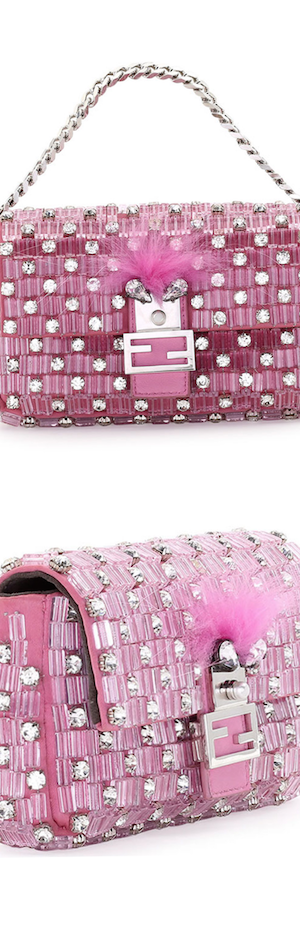 Fendi Baguette Micro Monster Crystal Bag, Pink