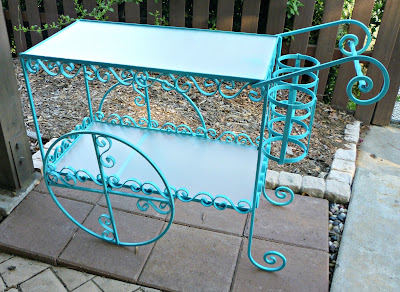 before and after, tea cart, beverage station, outdoors, makeover, DIY, Turquoise Tea Cart, Beverage Station