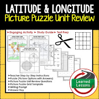 Latitude and Longitude, World Geography Picture Puzzle BUNDLE, Test Prep, Unit Review, Study Guide