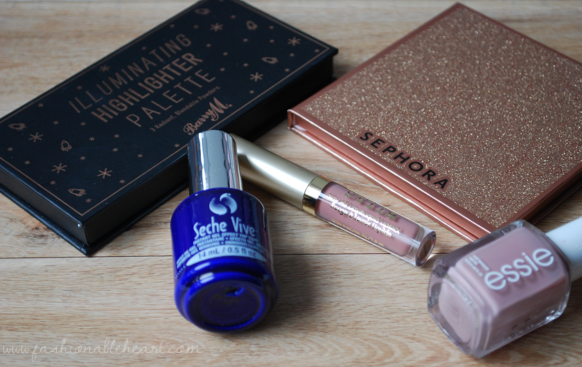 bbloggers, bbloggersca, canadian beauty bloggers, beauty blog, monthly favorites, barry m, illuminating highlighter palette, seche vive, top coat, gel, essie, lady like, ladylike, sephora collection, eyeshadow, winter magic palette, stila, stay all day, liquid lipstick, caramello