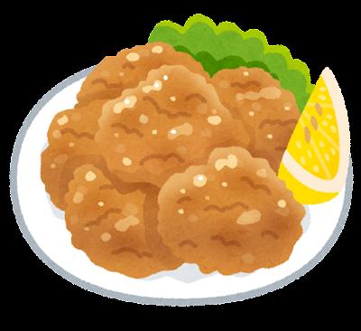 唐揚げのイラスト(レモン付)