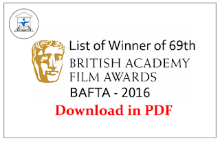 List of Winner of 69th British Academy Film Awards (BAFTA) 2016