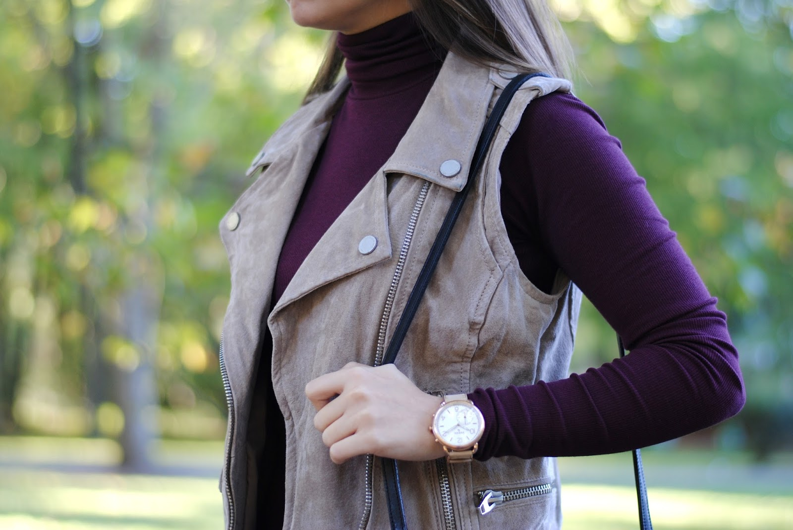 burgundy turtleneck styling with beige vest and fossil q tailor watch