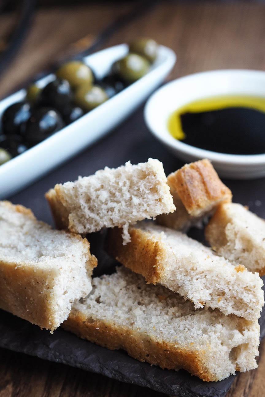 Bread, olives, balsamic vinegar, olive oil