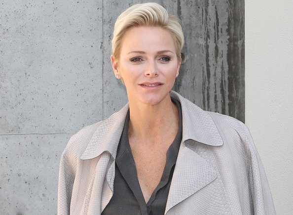 Princess Charlene of Monaco visited Giorgio Armani Fashion Show at Milan Fashion Week Spring/Summer 2018 Collection
