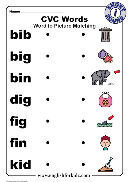 CVC words with pictures - short i sound - printable ESL worksheets
