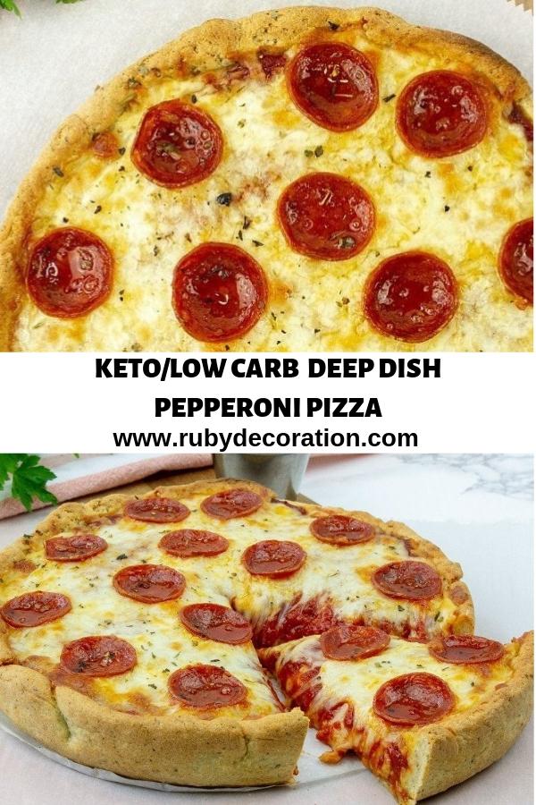 KETO/LOW CARB DEEP DISH PEPPERONI PIZZA