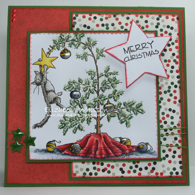 christmas, cat in tree, cat, star, mo manning, elizabeth whisson, alshandra, copic