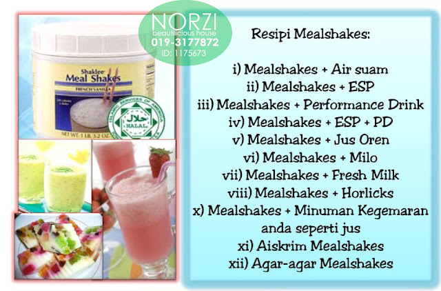 Meal Shakes Shaklee merupakan sumber protein dengan vitamin dan mineral tambahan.   Ia menyediakan jumlah yang seimbang bagi setiap sembilan asid amino yang diperlukan oleh tubuh untuk tumbesaran dan perlindungan yang baik.  Dan lagi, Meal Shakes Shaklee mengandungi semua asid amino asli yang terdapat di dalam protein termasuk yang asid amino perlu dan juga tidak perlu.  Ia diperbuat daripada bahan semulajadi - buah-buahan, sayur-sayuran, kacang soya, lactalbumin (sejenis susu).  Meal Shakes sesuai untuk semua golongan termasuk bayi, pelajar, kanak-kanak membesar, ibu mengandung, para atlet, pengamal sayuran (vegetarian), orang sakit, orang yang sibuk bekerja atau orang yang selalu mengambil makanan segera.