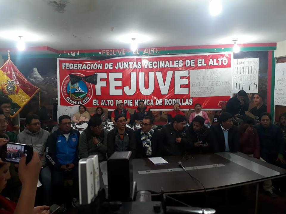 Pronunciamiento de la UPEA fue leído en la sede de la Fejuve de El Alto / RRSS UPEA