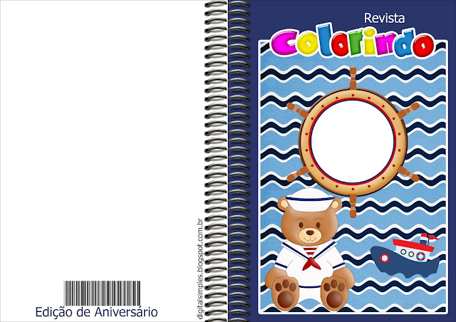 Imprimible carátula de libro para colorear de Osito Marinero.