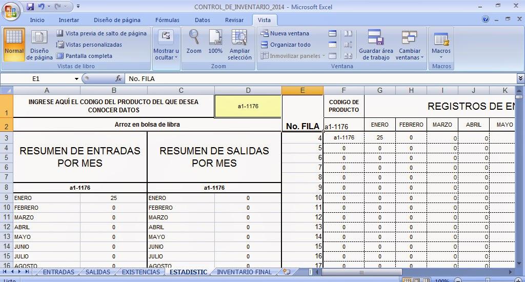 Plantilla en Excel para control de Inventario - Control de Kardex - formato inventario en excel