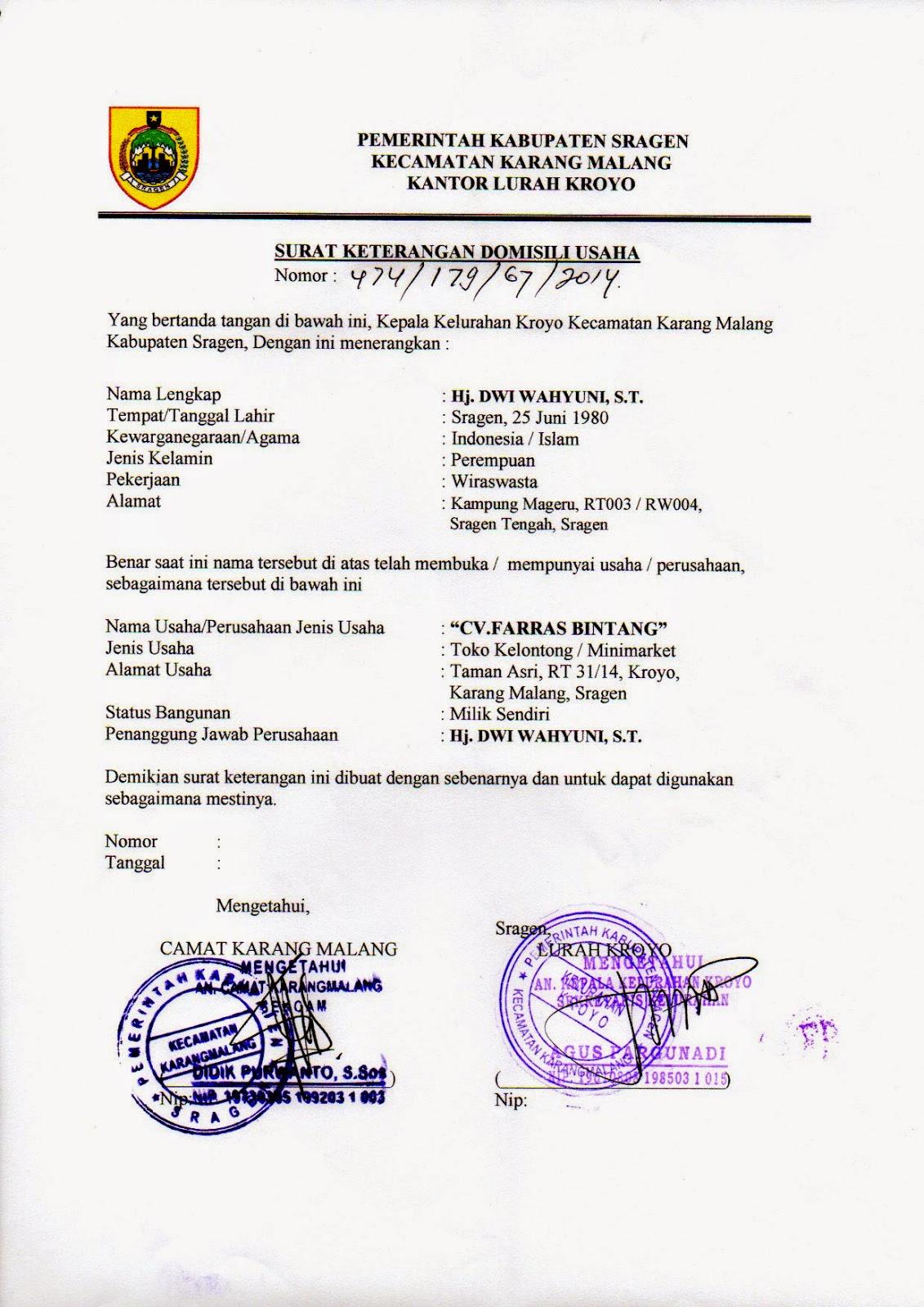 Contoh Surat Keterangan Domisili Lembaga