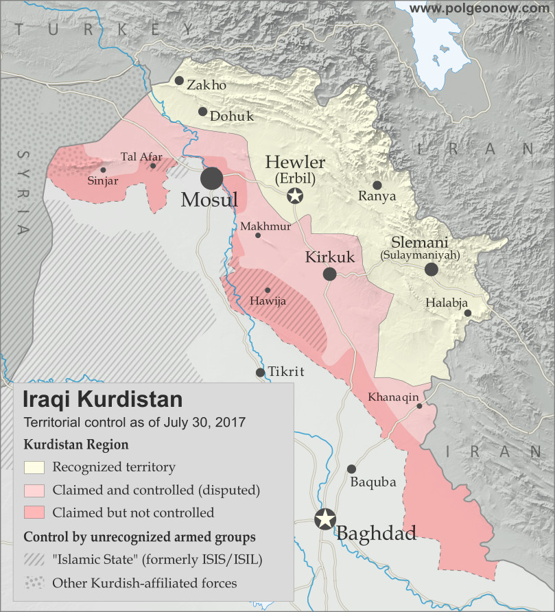 Map of Iraq and Kurdistan's place within it, published in advance of the 2017 Iraqi Kurdistan independence referendum. Includes disputed territories and territorial control as of July 30, 2017. Colorblind accessible.