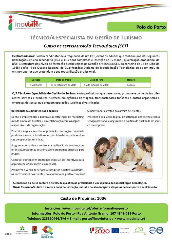Cursos CET financiados no Porto (Especialização Tecnológica Nível 5)