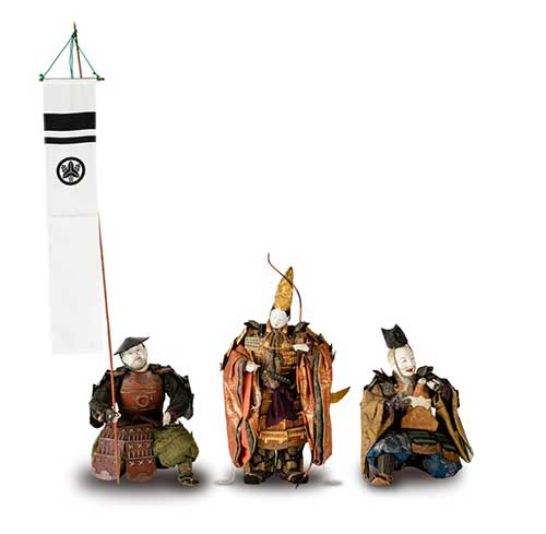 A set of warrior dolls from the collection of the Gokonomiya Shrine.
