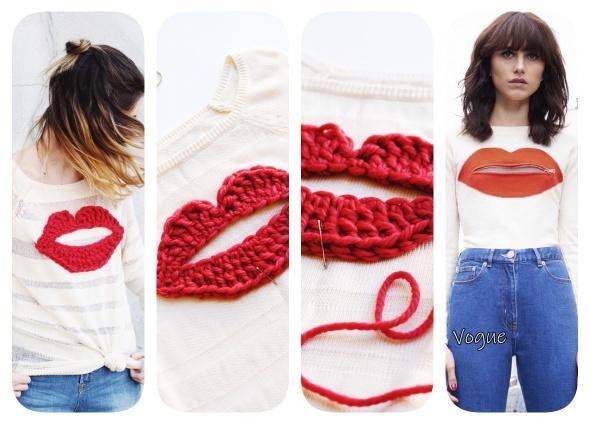 Camiseta con aplique de labios de crochet