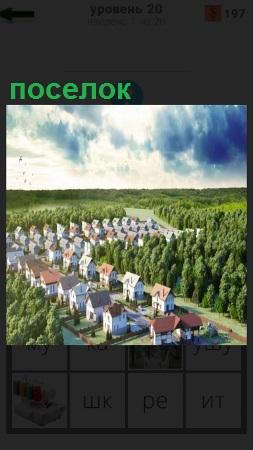 Вид сверху на поселок среди леса с ровными рядами построенных домиков