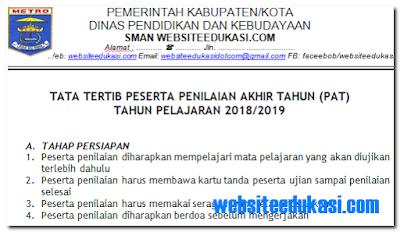 Tata Tertib Peserta PAT Tahun Pelajaran 2018/2019