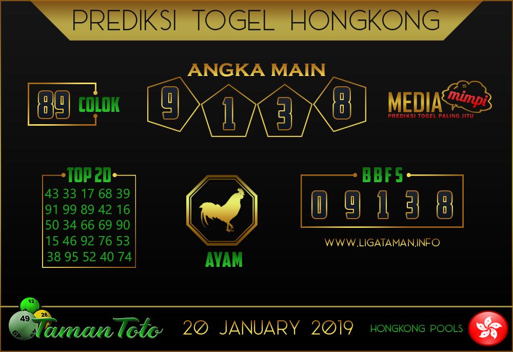 Prediksi Togel HONGKONG TAMAN TOTO 20 JANUARI 2018