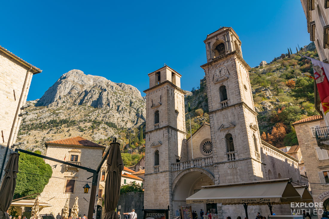 Saint Tryphon Cathedral and square with bars and restaurants
